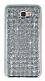 Eiroo Samsung Galaxy J7 Prime Taşlı Silver Silikon Kılıf