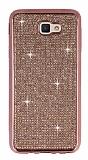 Eiroo Samsung Galaxy J7 Prime / J7 Prime 2 Taşlı Rose Gold Silikon Kılıf