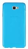 Eiroo Samsung Galaxy J7 Prime Ultra İnce Şeffaf Mavi Silikon Kılıf