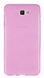Eiroo Samsung Galaxy J7 Prime Ultra İnce Şeffaf Pembe Silikon Kılıf