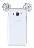 Eiroo Samsung Galaxy J7 Taşlı Kulaklı Silver Silikon Kılıf