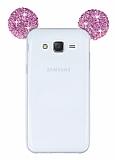 Eiroo Samsung Galaxy J7 Taşlı Kulaklı Pembe Silikon Kılıf