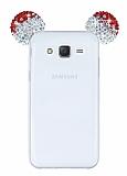 Samsung Galaxy J7 Taşlı Kulaklı Kırmızı Silikon Kılıf