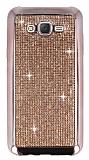 Eiroo Samsung Galaxy J7 Taşlı Rose Gold Silikon Kılıf