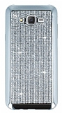 Eiroo Samsung Galaxy J7 Taşlı Silver Silikon Kılıf
