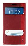 Samsung N7100 Galaxy Note 2 Gizli Mıknatıslı Pencereli Kırmızı Deri Kılıf