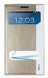 Samsung N7100 Galaxy Note 2 Gizli Mıknatıslı Pencereli Gold Deri Kılıf