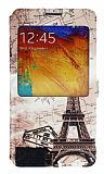 Eiroo Samsung Galaxy Note 3 Gizli M�knat�sl� Pencereli Paris Map Deri K�l�f