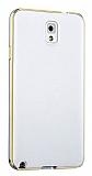 Eiroo Samsung Galaxy Note 3 Metal Kenarl� Beyaz Rubber K�l�f