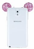 Eiroo Samsung Galaxy Note 3 Taşlı Kulaklı Pembe Silikon Kılıf