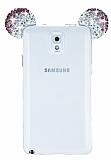 Samsung Galaxy Note 3 Taşlı Kulaklı Mor Silikon Kılıf