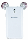 Eiroo Samsung Galaxy Note 3 Taşlı Kulaklı Mor Silikon Kılıf