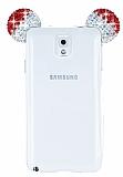 Eiroo Samsung Galaxy Note 3 Taşlı Kulaklı Kırmızı Silikon Kılıf