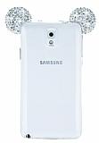 Samsung Galaxy Note 3 Taşlı Kulaklı Silver Silikon Kılıf