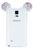 Samsung Galaxy Note 4 Taşlı Kulaklı Pembe Silikon Kılıf