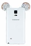 Eiroo Samsung Galaxy Note 4 Taşlı Kulaklı Gold Silikon Kılıf