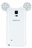 Eiroo Samsung Galaxy Note 4 Taşlı Kulaklı Silver Silikon Kılıf