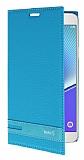 Samsung Galaxy Note 5 Gizli Mıknatıslı Yan Kapaklı Mavi Deri Kılıf