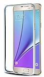 Eiroo Samsung Galaxy Note 5 Gold Çizgili Silver Metal Bumper Kılıf