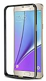 Eiroo Samsung Galaxy Note 5 Gold Çizgili Siyah Metal Bumper Kılıf