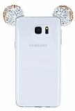 Samsung Galaxy Note 5 Taşlı Kulaklı Gold Silikon Kılıf