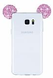 Eiroo Samsung Galaxy Note 5 Taşlı Kulaklı Pembe Silikon Kılıf