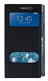 Samsung Galaxy Note Edge Gizli Mıknatıslı Çift Pencereli Siyah Kılıf