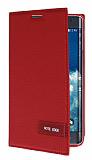 Samsung Galaxy Note Edge Gizli Mıknatıslı Standlı Kırmızı Deri Kılıf