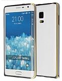 Eiroo Samsung Galaxy Note Edge Gold �izgili Round Metal Bumper �er�eve F�me K�l�f