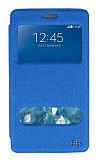 Eiroo Samsung Galaxy Note Edge Vantuzlu Pencereli Mavi Deri Kılıf