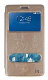 Eiroo Samsung Galaxy Note Edge Vantuzlu Pencereli Gold Deri Kılıf