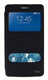 Eiroo Samsung Galaxy Note Edge Vantuzlu Pencereli Siyah Deri Kılıf