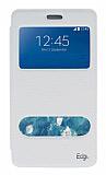 Eiroo Samsung Galaxy Note Edge Vantuzlu Pencereli Beyaz Deri Kılıf