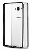Eiroo Samsung Galaxy On7 Gold Çizgili Round Metal Bumper Çerçeve Siyah Kılıf