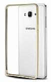Eiroo Samsung Galaxy On7 Gold Çizgili Round Metal Bumper Çerçeve Gold Kılıf