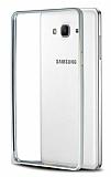 Eiroo Samsung Galaxy On7 Gold �izgili Round Metal Bumper �er�eve Silver K�l�f