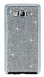 Eiroo Samsung Galaxy On7 Taşlı Silver Silikon Kılıf