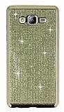 Eiroo Samsung Galaxy On7 Taşlı Gold Silikon Kılıf