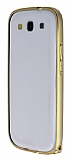 Eiroo Samsung Galaxy S3 / S3 Neo Gold �izgili Metal Bumper �er�eve Gold K�l�f
