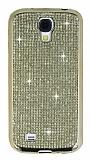 Eiroo Samsung Galaxy S4 Taşlı Gold Silikon Kılıf