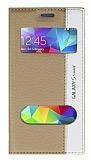 Samsung Galaxy S5 mini Gizli Mıknatıslı Çift Pencereli Gold Kılıf