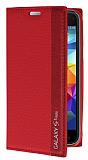 Samsung Galaxy S5 mini Gizli Mıknatıslı İnce Yan Kapaklı Kırmızı Deri Kılıf