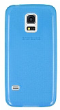 Samsung Galaxy S5 mini Ultra İnce Şeffaf Mavi Silikon Kılıf