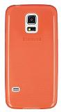 Samsung Galaxy S5 mini Ultra İnce Şeffaf Kırmızı Silikon Kılıf
