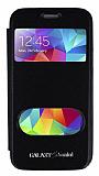 Eiroo Samsung Galaxy S5 mini Vantuzlu Pencereli Siyah Deri Kılıf