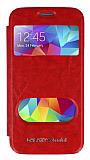 Eiroo Samsung Galaxy S5 mini Vantuzlu Pencereli Kırmızı Deri Kılıf