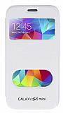 Eiroo Samsung Galaxy S5 mini Vantuzlu Pencereli Beyaz Deri Kılıf