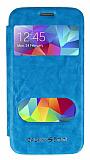 Eiroo Samsung Galaxy S5 mini Vantuzlu Pencereli Mavi Deri Kılıf