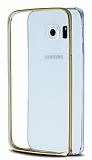 Eiroo Samsung Galaxy S6 Edge Gold Çizgili Round Metal Bumper Çerçeve Gold Kılıf