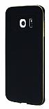 Eiroo Samsung Galaxy S6 Edge Metal Kenarl� Siyah Rubber K�l�f